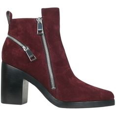 Kenzo Suede bootie with zip (2 215 ZAR) ❤ liked on Polyvore featuring shoes, boots, ankle booties, red, suede bootie, zipper ankle boots, red booties, suede booties and suede boots