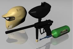 3D paintball gun and helmet models in FBX 3D model format that works with most 3D modeling software.