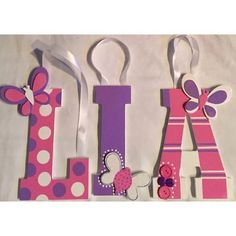 Butterfly Themed Wooden Letters For Baby Girls Room!