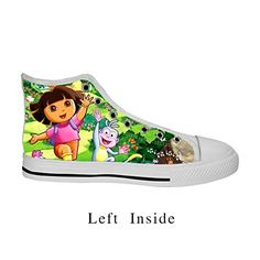 watch 4a17e ffe37 DONGMEN Dora The Explorer Womens Canvas High Top Lace Up Breathable Running  Sneakers US6 --