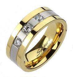 Titanium Elegant Men's Gold Ion Plated Striped 3-CZ Band Ring Size 10