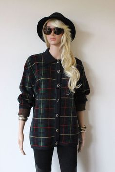 TARTAN Cardigan Jumper Button up GRUNGE Vintage retro PLAD check sz S boho PUNK