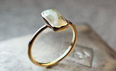 White Diamond Ring In Yellow Gold- Diamond Ring- Engagement Ring- Statement Ring - Beautiful Ring Photo