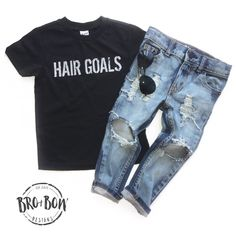Hair Goals + Cannon Skinnies + Black on Black Aviators all by Bro & Bow Designs. www.broandbow.com Kids style, Baby+ Toddler Distressed Denim. Skinny Jeans. Graphic tees. kids sunnies.