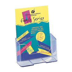 "Deflect-O® Literature Holder, Booklet Size, 7 3/4""W x 6 1/2""W x 3 1/4""D, Clear"