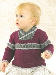 Diy Crafts - Babies Jumper knitted in Sublime Baby Cashmere Merino Silk Dk Baby Boy Knitting Patterns, Baby Sweater Knitting Pattern, Knitting For Kids, Baby Patterns, Toddler Sweater, Sweater Design, Baby Sweaters, Pulls, Crochet