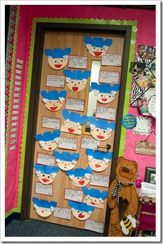 This is a cute classroom door display that features students' projects about George Washington.
