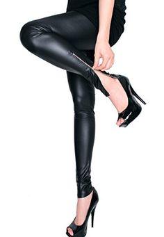 LeggingsQueen Ankle Zip Faux Leather Leggings