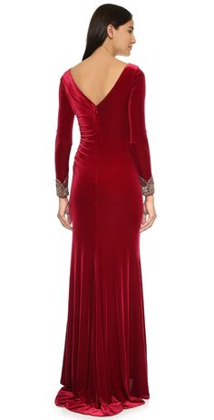 Badgley Mischka Collection Velvet Long Sleeve Dress | SHOPBOP SAVE UP TO 25% Use Code: EVENT17