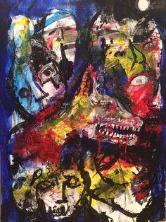 """LYCANTHROPY"" 9""/12"" Acrylic on Bristol Board. Original Abstract by Jack Larson"