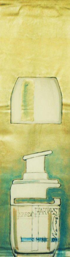 Presentation cosmetic line Nardi acrylic enamel and gold leaf on canvas