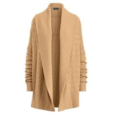 Polo Ralph Lauren Cashmere Shawl Cardigan ($300) ❤ liked on Polyvore featuring tops, cardigans, knitwear, natural, rib top, oversize cardigan, cashmere cardigan, cashmere shawl collar cardigan and long sleeve open front cardigan
