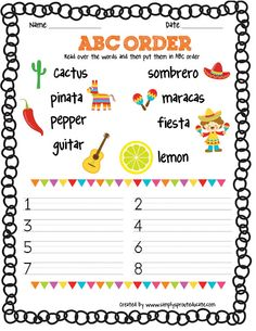 Get Festive with a  Cinco De Mayo FREEBIE ABC order and vocabulary activity ~ Simply Sprout