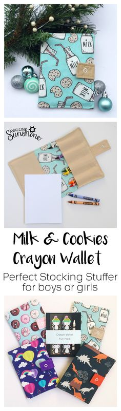 This crayon wallet makes a great stocking stuffer!  Such cute fabric for boys or girls.