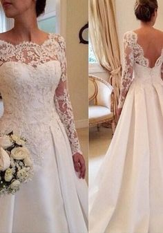 eb3a04e4bd0 Long Sleeves Lace Court Train Scoop Satin Wedding Dresses
