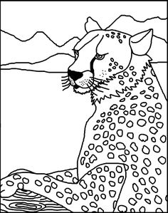 Cheetah - Free Coloring Pages for Kids - Printable Colouring Sheets