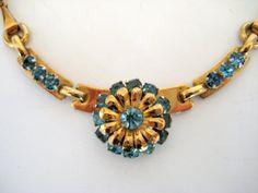 10 Vintage Necklace Aquamarine Rhinestone Barclay 1940s