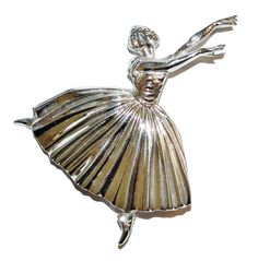 Fully Hallmarked Sterling Silver Ballerina Brooch With Base Metal Pin