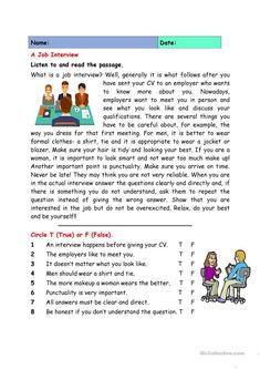 A job interview worksheet - free esl printable worksheets made by teachers teaching job interview, English Writing Skills, English Reading, English Lessons, English Vocabulary, Teaching English, Learn English, English Grammar, English English, Teaching Job Interview