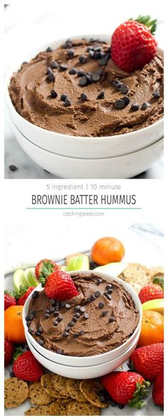 This Chocolate Brownie Batter Hummus is the perfect healthy chocolate treat! This recipe requires just 5 everyday ingredients and can be made in 10 minutes with 1 simple step! | CatchingSeeds.com