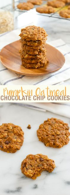 Pumpkin Oatmeal Chocolate Chip Cookies // Moist and delicious cookies for fall that are vegan and gluten-free.