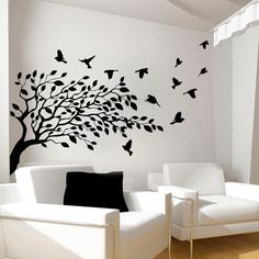 Tree Wall Decals Bird Decal Vinyl Sticker for Kitchen Window Nursery Bedroom Room Home Decor Art Murals * Visit the image link more details. (This is an affiliate link)