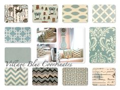 Decorative Pillow, Throw Pillow, Pillows, Toss Pillow, Accent Pillow, Village Blue and Natural, 1- 18 x 18