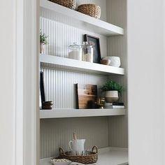 Light Gray Cabinets, Grey Kitchen Cabinets, Kitchen Pantry, Grey Floating Shelves, Floating Shelves Kitchen, Floor To Ceiling Cabinets, Glass Front Cabinets, Brick Tile Backsplash, Green Shelves