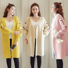 455f39938393e Flower Embroidered Cardigan Clothes Pregnancy Coats Korean Women,  Embroidered Flowers, Loose Sweater, Long