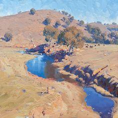 Fantasy Landscape, Landscape Art, Landscape Photography, Australian Painting, Australian Art, Beautiful Landscape Paintings, Watercolor Landscape, Artist Painting, Painting Canvas