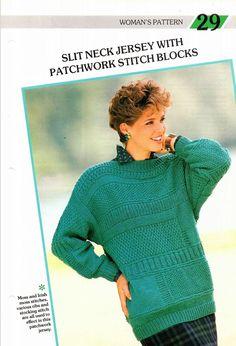 No. 29 Slit neck jersey with patchwork stitch blocks. Creative Knitting, Moss Stitch, Stockings, Pattern, Fashion, Scrappy Quilts, Socks, Moda, Fashion Styles