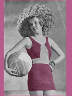 Vintage Knitting Pattern Bathing Suit PDF by Mrsdepew Crochet Bathing Suits, Vintage Bathing Suits, Crochet Vintage, Vintage Knitting, Knitting Patterns, Crochet Patterns, Preteen Girls Fashion, Bathing Costumes, Vintage Tags