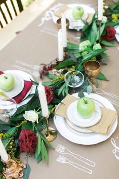 Fall garland and DIY paper tablecloth: http://www.stylemepretty.com/2014/11/28/autumn-al-fresco-bridal-shower/   Photography: Kathryn McCrary - http://www.kathrynmccrary.com/