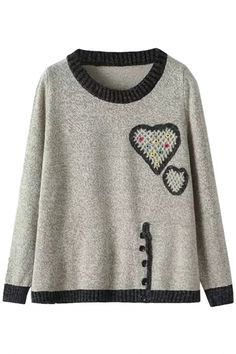 Casual Button Deco Knit Sweater