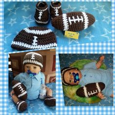 TOUCH DOWN! football set for baby boys perfect for photo prop pictures, Football hat and booties plus amigurumi ball toy by MadebyMily on Etsy