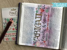 abigail page made by lucilight - rubons On Trend available at lucilight. 1 Samuel 25, Samuel Bible, Book Page Art, Book Pages, 1 Kings, Our Savior, Illustrated Faith, Bible Journal, Judges