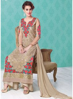 Dazzling Beige Office Wear Salwar Suit   Br20688210