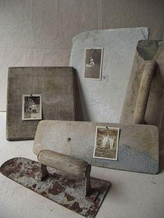 Vintage trowels as photo display