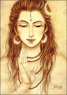 A lovely depiction of Lord Shiva. on an interesting note.the artist has definitely made Him look more feminine. Art Day, Indian Paintings, Face Art, Spiritual Art, Shiva Shakti, Painting, Lord Siva, Art, Shiva Art