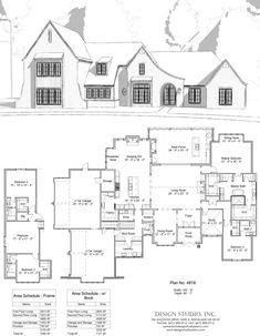 Plan #4919 | Design Studio European House Plans, Best House Plans, Dream House Plans, House Floor Plans, My Dream Home, Building Plans, Building A House, Transitional House, House Blueprints