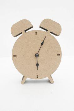 'mini alarm clock' made from cardboard, designed by czech company kartoons Cardboard Design, Cardboard Crafts, Old Clocks, Alarm Clock, Room Decor, Display, Canning, Mini, Modern