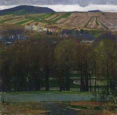 Carl Moll, Blick von Heiligenstadt auf den Nußberg, um 1905, Öl auf Leinwand, 80 x 80 cm, Belvedere, Wien, Inv.-Nr. 5369