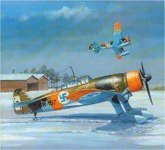 Fokker D.XXI código «FR-157» (IV serie finlandesa, motor Wasp) provisto de esquiés, perteneciente al CO majuri Lauri Bremer, E/LLv 30. Sanko. http://www.elgrancapitan.org/foro/viewtopic.php?f=52&t=17924&start=6600#p909657
