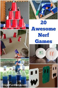20 Awesome Nerf Games to Make and Play . At our house, we LOVE Nerf guns! Here are a collection of the most awesome Nerf games to make and play. This post Nerf Games, Fun Games, Fun Activities, Awesome Games, Birthday Activities, Kids Birthday Party Games, Kids Summer Activities, Indoor Birthday Games, Boy Party Games