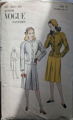 Vogue 3063 Vintage Women's 1940s Sewing Pattern by Sutlerssundries, $19.95