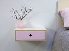 Stylish floating nightstand perfect for optimizing space in a bedroom whilst giving an uncluttered feel. Handcrafted from birch plywood for that Scandinavian vibe, the drawer fronts are available in four colours, natural, white, mint and baby pink Chic Dorm, Plywood Shelves, Masonry Wall, Blue Ceilings, Painted Drawers, Ral Colours, Bedroom Color Schemes, Mint Color, Luxurious Bedrooms