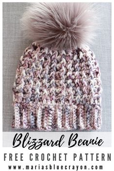Crochet Hat Pattern The Blizzard beanie is your next oh so cozy and warm hat project that you will want to crochet! This free pattern has loads of squishy texture using post stitches that keeps the pattern interesting. Crochet Simple, Crochet Diy, Crochet Crafts, Crochet Projects, Crochet Birds, Crochet Flowers, Crochet Ideas, Beanie Pattern Free, Crochet Beanie Pattern