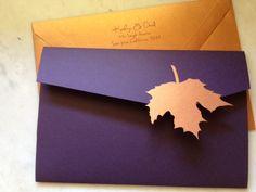 Wedding Invitations - Modern Fall Leaves - Sleepy Hedgehog Press