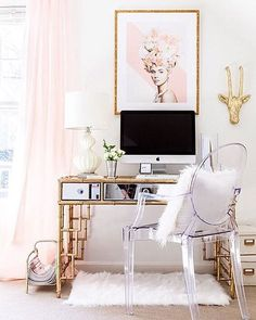 Glam #workspacegoals + regram from Mallory @styleyoursenses in the US Well here's a striking space to work in each day☝️✨ It belongs to Mallory, a blogger based in Charlotte Have you ever seen a mirrored bamboo desk like this before? We hadn't! The @gina_julian print is beautiful too Thanks Mallory for bringing the glam to our workspace feed this week