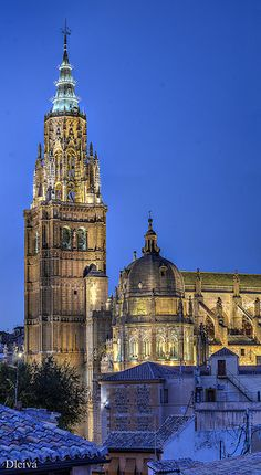 The Primate Cathedral of Saint Mary of Toledo, Spain:  The cathedral of Toledo is one of the three 13th-century High Gothic cathedrals in Spain and is considered, in the opinion of some authorities, to be the magnum opus of the Gothic style in Spain.
